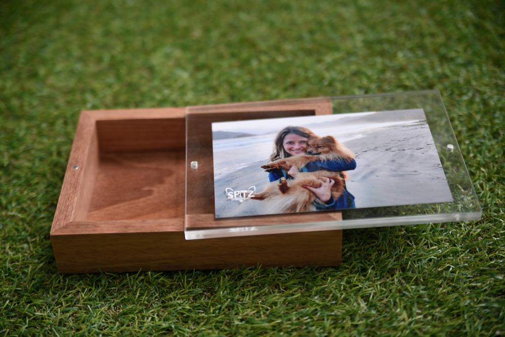 Caixa de madeira Spitz Fotografia Pet